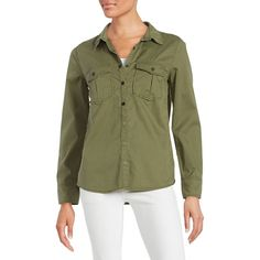 Sanctuary Women's Emboidered Utility Button-Down Shirt ($74) ❤ liked on Polyvore featuring tops, cactus, cotton shirts, long sleeve shirts, button up shirts, green long sleeve shirt and button down shirt