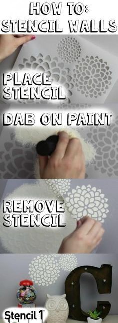 DIY Stenciled Walls - A Little Craft In Your Day and Stencil1. Learn how to create a DIY Stenciled Wall with Tanner & Courtney for some awesome room decor.