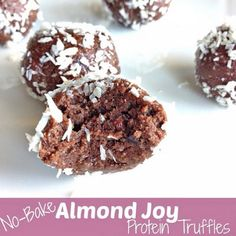 No-Bake Almond Joy Protein Truffles  recipe from @J_Vespa  Makes 12 truffles. Serving size 2 •1/2 cup chocolate Perfect Fit Protein •1/4 cup oat flour (to make oat flour, simple pulse raw oats in a blender or coffee grinder) •1 Tbs unsweetened cocoa powder •1 Tbs coconut oil, melted •3 Tbs almond butter •1 Tbs honey or maple syrup •2 Tbs unsweetened almond milk •1 Tbs raw cacao nibs •1/4 cup unsweetened coconut flakes