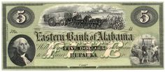 Obsolete bank note, 18_, Eastern Bank of Alabama, Euphala, Alabama