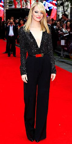 TAKING THE PLUNGE  Also in London: Vogue cover girl Emma Stone dares to bare with her all-black ensemble Monday at The Amazing Spider-Man premiere.  Shop This Look