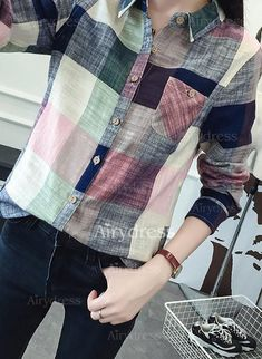 Blouses - $17.55 - Color Block Casual Polyester Collar Long Sleeve Blouses (1645215295)