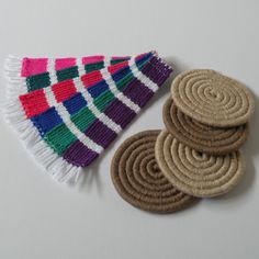 Some of my handwoven bookmarks and drink coasters which are now available to buy from etsy shop. All products come beautifully packaged with worldwide shipping. #weaving #woven #handwoven #wool #yarn #etsy #etsyshop #etsyfinds #book #bookmark #reading #gift #giftideas #handmade #coasters #kitchen #home