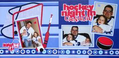 Girl or Boy Scrapbook Page - Hockey Night in Canada - 2 page sports layout with a hockey net, hockey stick and a puck - baby page from Baby Album 1