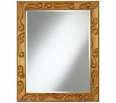 """Tobacco Carved Scroll 34"""" High Wall Mirror - Wood frame. Tobacco finish. Carved scroll detail. Beveled glass edge. May be hung vertically or horizontally. 34"""" high. 27 1/2"""" wide. Mirror glass 27 1/2"""" high and 21 1/2"""" wide. Hang weight 15 1/4 pounds."""