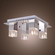 LightInTheBox® 80W Flush Mount with 4 Lights in Cubic Crystal Lampshade, Modern Ceiling Light Fixture for Study Room/Office, Bedroom, Living Room, Hallway (G4 Bulb Base) LightInTheBox http://www.amazon.com/dp/B005HTLL20/ref=cm_sw_r_pi_dp_StSgub1WK9QYD