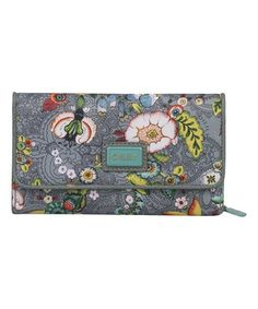 Gray French Flowers Large Wallet