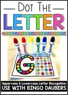 Use with bingo daubers, or even stickers, watercolors, or markers. Kindergarten Centers, Preschool Letters, Preschool Learning Activities, Learning Letters, Toddler Learning, Classroom Activities, Preschool Activities, Morning Activities, Beach Activities