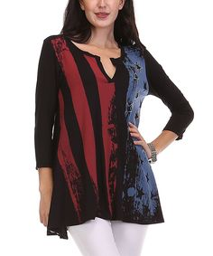 Look what I found on #zulily! A La Tzarina Black & Red Flag Notch Neck Top - Plus by A La Tzarina #zulilyfinds