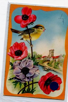 Landscape with bird and flowers Spanish by sharonfostervintage, $3.50