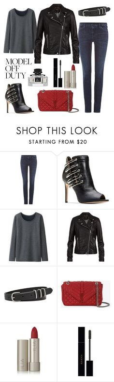 """""""Untitled #860"""" by elizabeth-buttery on Polyvore featuring Armani Jeans, Uniqlo, SET, FOSSIL, Yves Saint Laurent, Ilia and Gucci"""