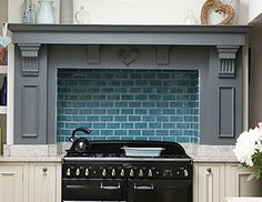 Neptune kitchens - fake chimney breast in teal