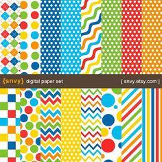 Love Rainbow - Digital Paper Pack (Set of 16 Papers) Printable Origami Scrapbook Patterns Set - 100053A