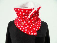 Schal Tuch  Loop Punkte Dots rot weiss Kragenschal von Zellmann Fashion auf DaWanda.com