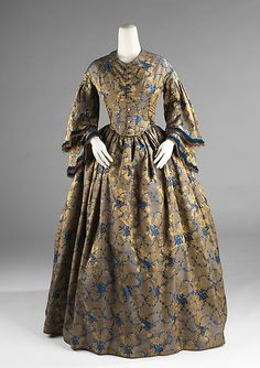 Afternoon dress Date: 1850–55 Culture: American Medium: silk Dimensions: Length at CB: 57 in. (144.8 cm)