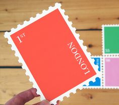 Love this giant stamp postcard set by german company CUT and Make (via http://twentytwentyone.com)