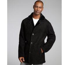 Blue Duck black shearling framed collar coat
