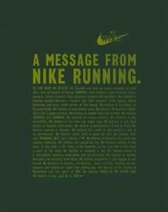 A message from Nike running