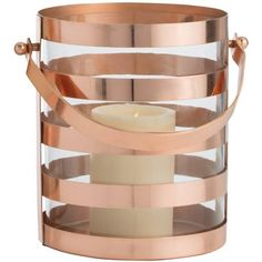 Arteriors Solange Hurricane Copper Small By (£350) ❤ liked on Polyvore featuring home, home decor, candles & candleholders, candle holders, arteriors, copper home accessories, hurricane candle holders, copper candle holders and copper home decor