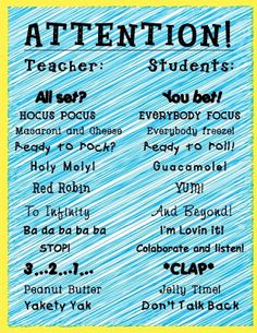 Sparking Student Motivation: Whole Brain Teaching. This tool encourages entire class engagement and immediate focus. There are other great examples of whole brain teaching that also include actions and singing. Classroom Fun, Future Classroom, Classroom Organization, Classroom Chants, Classroom Procedures, Classroom Control, Elementary Classroom Themes, Preschool Transitions, Kindergarten Classroom Setup