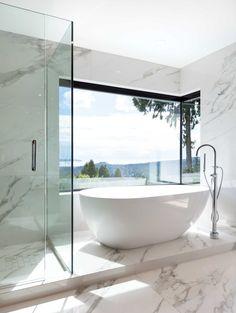 A Black, White and Neutral North Vancouver Home - Western Living Dream Home Design, House Design, Modern Master Bathroom, Modern Bathrooms, White Bathroom, Bright Homes, Bathroom Design Luxury, Bathroom Designs, Dream Bathrooms