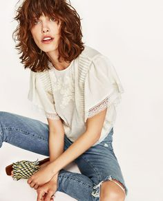 Image 2 of EMBROIDERED TOP WITH RUFFLES from Zara