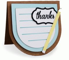Silhouette Design Store - View Design #80049: thanks folded card