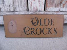 Primitive Olde Crocks Stoneware Jug Hand Stenciled Wood Sign