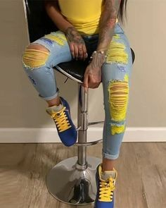 1ST ORDER 10%OFF🎁CODE: NEW  Buy 1 get 2nd 15%🎁CODE: F1  Buy 2 get 3rd 20%🎁CODE: F2  Buy 3 get 4th 30%🎁CODE: F3 Light Blue Ripped Jeans, Cheap Ripped Jeans, Blue Jeans, Shorts Casual, Trend Fashion, Women's Fashion, Denim Fashion, Fashion Pants, Fashion Outfits