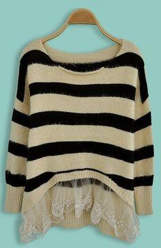Beige Black Striped Contrast Lace Long Sleeve Sweater