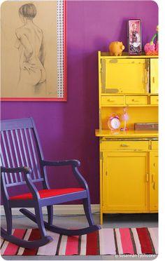 Purple Walls and Purple Chair! Plus that Yellow painted hutch is beyond awesome! {via avotakka} Bedroom Colors Purple, Purple Bedding Sets, Purple Walls, Recycled Furniture, Painted Furniture, Painted Hutch, Home Bedroom, Bedroom Decor, Purple Chair