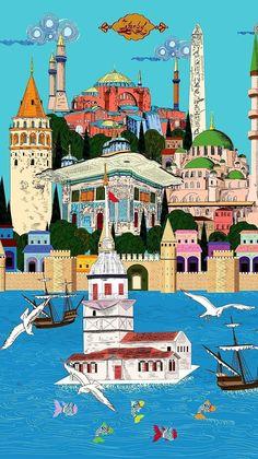Miniature Istanbul Illustrator: Derya Paçal – Gülser Baydar – Join the world of pin Istanbul Turkey Map, Anime Muslim, Turkish Art, Dream City, Tile Art, Cartography, Islamic Art, Watercolor Illustration, Traditional Art