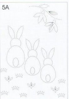 3 bunnies, great for Easter decorating; Could use as a tin punch pattern.:
