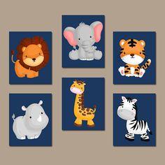 JUNGLE Safari Animal Wall Art, Baby Boy Animal Nursery Decor, Jungle Safari Animals Boy Bedroom Canvas or Prints Set of 6 Playroom Decor