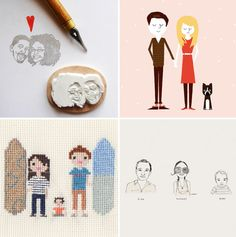 Different ways to do a family portrait.  Custom-family-portrait-etsy