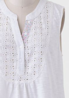 Sun Drenched Eyelet Top Dress Neck Designs, Neck Designs For Suits, Blouse Designs, Churidar Designs, Kurta Neck Design, Pakistani Dresses Casual, Kurti Designs Party Wear, Cute Blouses, Embroidery Fashion