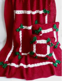 Maggie's Crochet · Holly & Berries Afghan & Pillow Crochet Pattern for Purchase