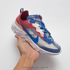 Undercover x Nike React Element 87 Blue Red AQ1813-343 Undercover b1d65219f