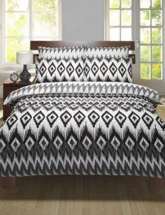 SINGLE SIZE BEDDING - BLACK WHITE & GREY AZTEC PRINT DUVET QUILT COVER BED SET: Amazon.co.uk: Kitchen & Home