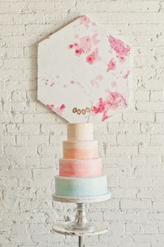 Simple watercolor inspired gradient 4 tiered wedding cake #labohemeevents