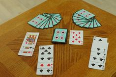 The setup of Rummy next to a few examples of sets and runs Family Card Games, Fun Card Games, Card Games For Kids, Playing Card Games, Fun Games, Games To Play, Kids Playing, Group Games, Articulation Games