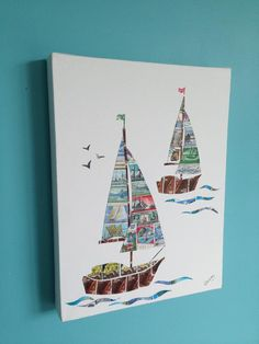 'Two Sailing Boats' Stamp Art Stamp Drawing, Summer Camp Art, Card Ideas, Diy Ideas, Map Crafts, Man Card, Memories Box, Postage Stamp Art, Envelope Art