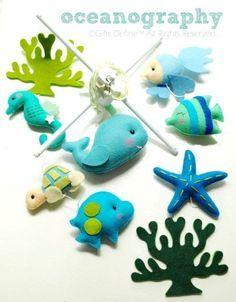 Baby Mobile Oceanography Under the Sea (Artist Choice Color) - Custom Mobile for Crib Nursery Mobile, Modern Nautical Room decor