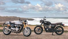 At the beach... the new Thruxton R and Bonneville T120 Black