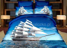 3D pościel niebieska z łodzią