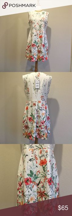 "Zara mini floral dress NWT. Size L. Beautiful flower. High quality and a little stretchable material. Bust 19"" across. Waist 17"" across. 34"" long from shoulder. Zara Dresses Mini"