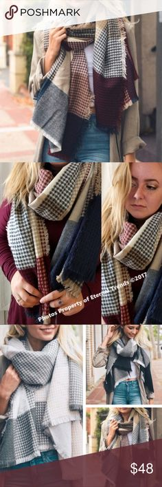 "Ultimately Soft Luxury Plaid Scarf/Wrap N/B/T The Ultimate in Softness & Luxury Long Plaid Scarf/Wrap in Navy/Burgundy/Tan/Cream Available in Additional Colors Dimension 79"" x 28"" 100% Acrylic Accessories Scarves & Wraps"
