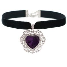 MERIDA Amethyst Heart Choker ($32) ❤ liked on Polyvore featuring jewelry, necklaces, accessories, choker, black choker necklace, purple heart necklace, black choker, choker necklace and heart jewelry