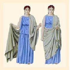 ANCIENT ROMAN CLOTHING: A Roman woman wearing a Tunic and a Palla.