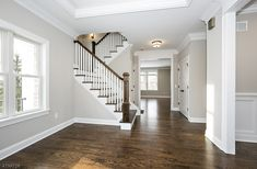 ultimate farmhouse staircase decor ideas and design 33 Custom Home Builders, Custom Homes, Foyer Design, Find Homes For Sale, New Construction, Townhouse, Small Spaces, Building A House, Home And Family